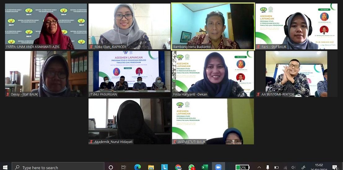 Asesmen Lapangan Secara Daring Program Studi Pendidikan Biologi FIP ITSNU Pasuruan